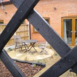rear garden through trellis